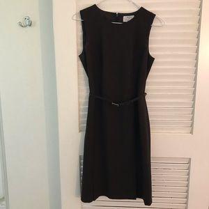 Ann Taylor Loft lined dark brown dress with belt